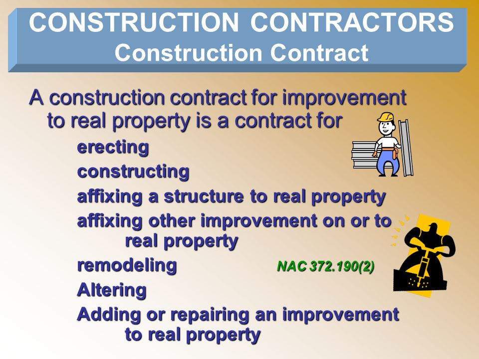CONSTRUCTION CONTRACTORS Construction Contract