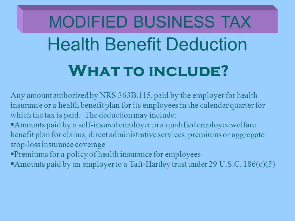Health Benefit Deduction
