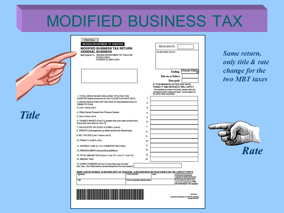MODIFIED BUSINESS TAX Title Rate