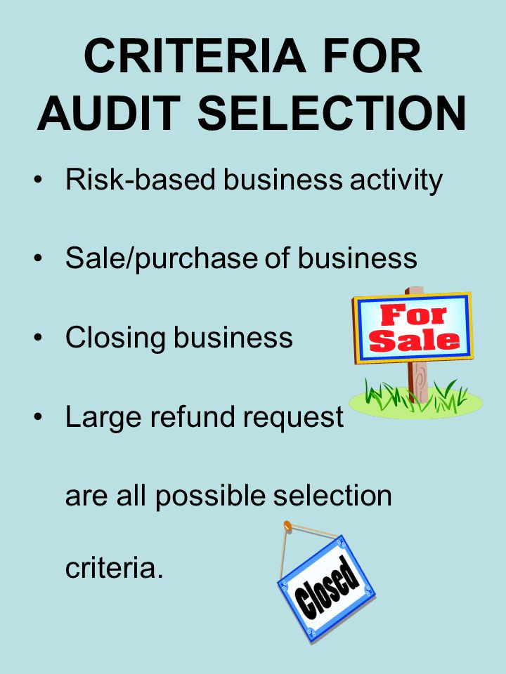 CRITERIA FOR AUDIT SELECTION