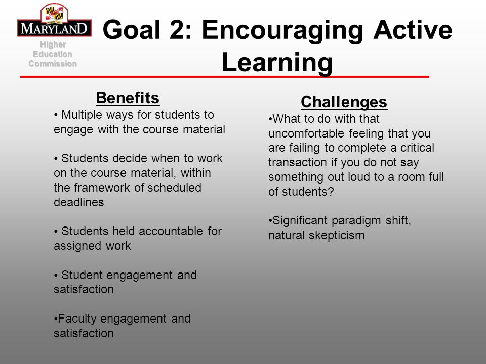 Goal 2: Encouraging Active Learning