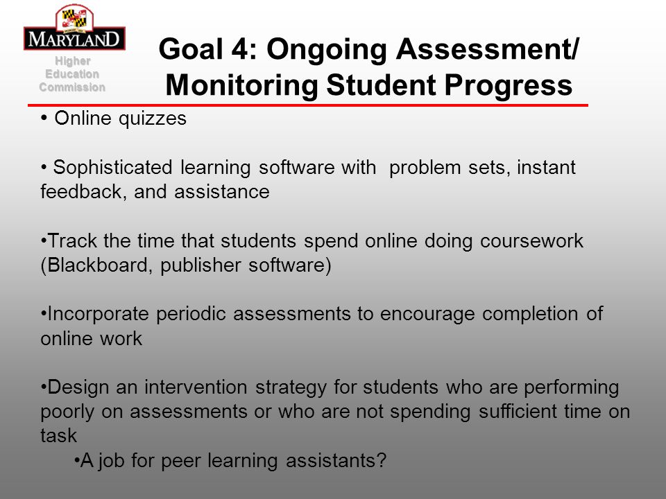 Goal 4: Ongoing Assessment/ Monitoring Student Progress