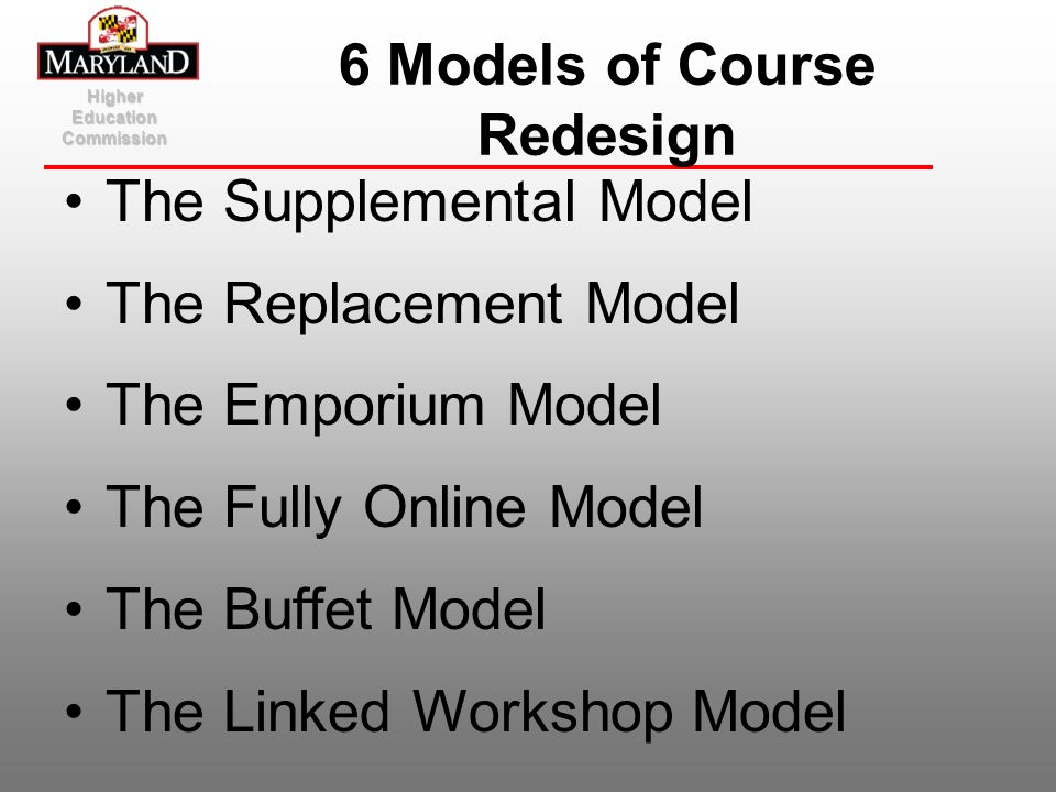 6 Models of Course Redesign