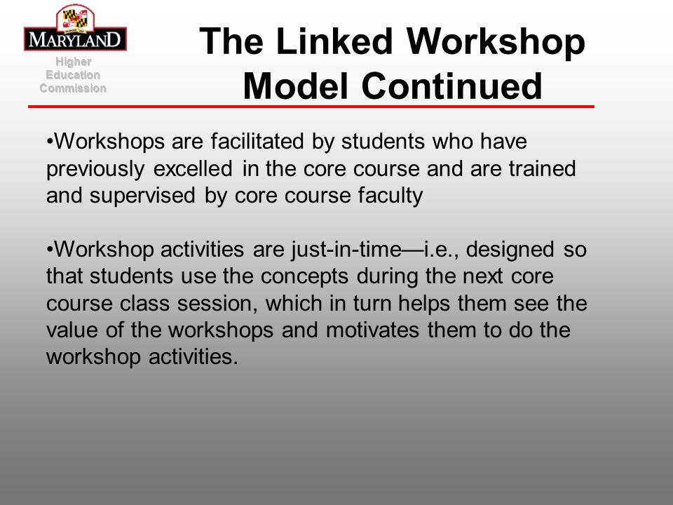 The Linked Workshop Model Continued