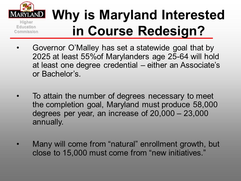 Why is Maryland Interested in Course Redesign