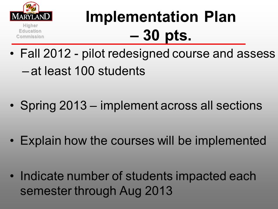 Implementation Plan – 30 pts.