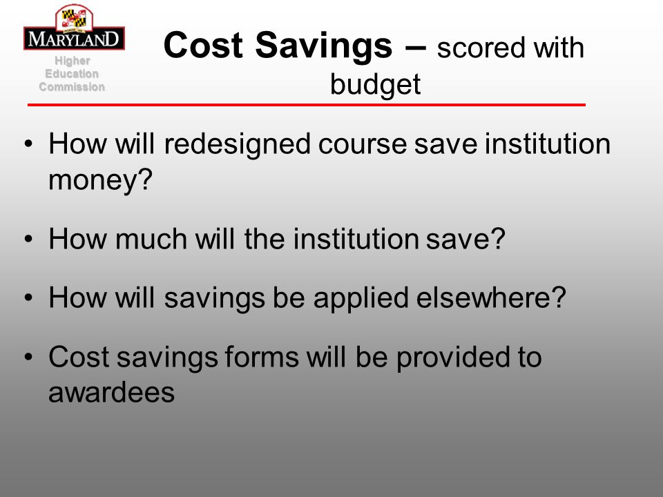 Cost Savings – scored with budget