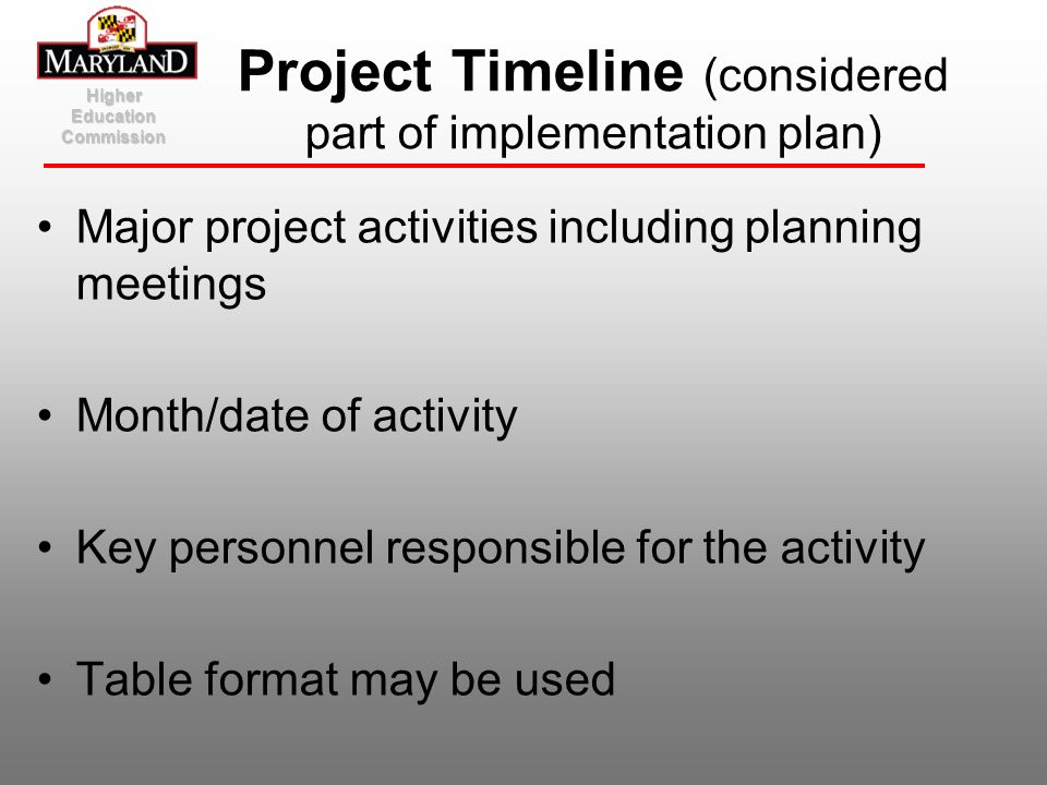 Project Timeline (considered part of implementation plan)
