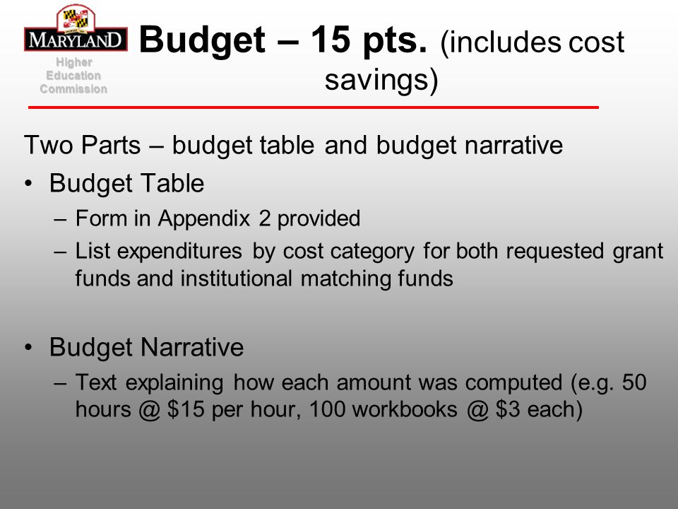 Budget – 15 pts. (includes cost savings)