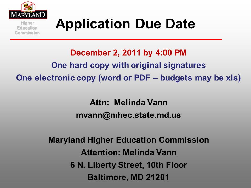 Application Due Date December 2, 2011 by 4:00 PM