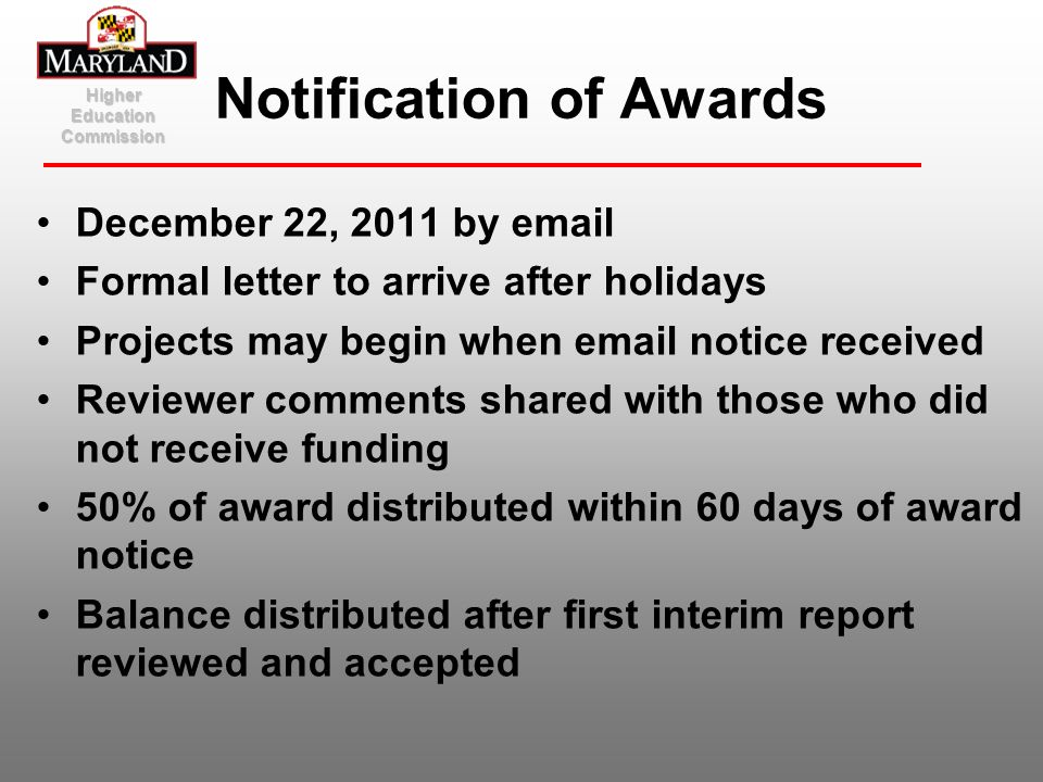 Notification of Awards