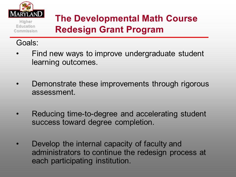 The Developmental Math Course Redesign Grant Program
