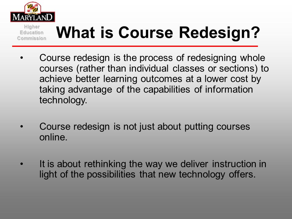 What is Course Redesign