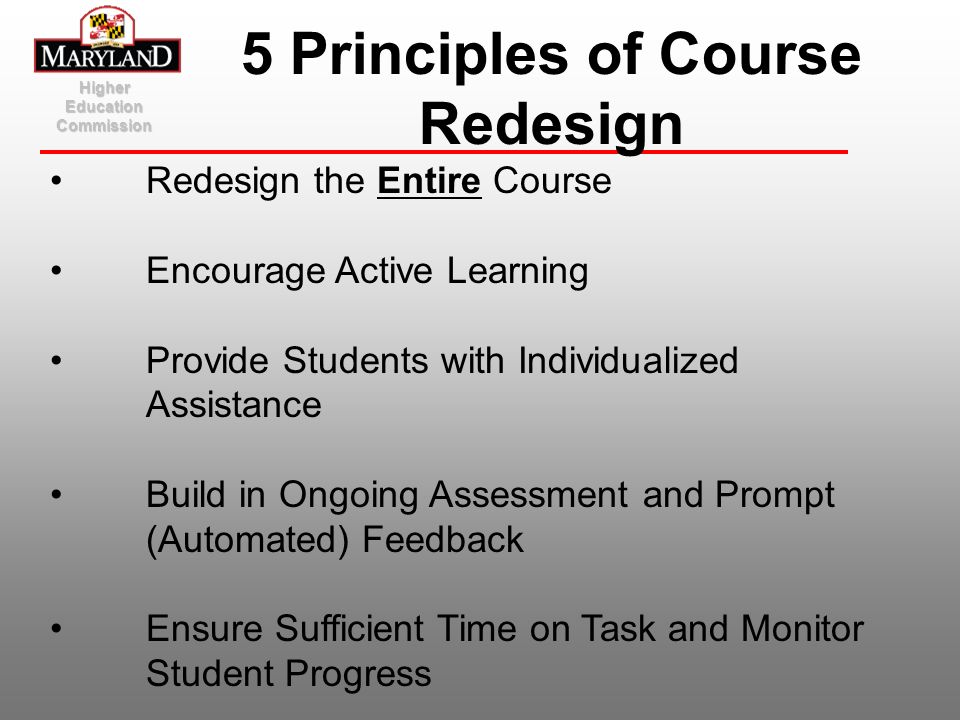 5 Principles of Course Redesign