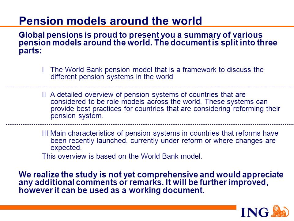 Pension models around the world