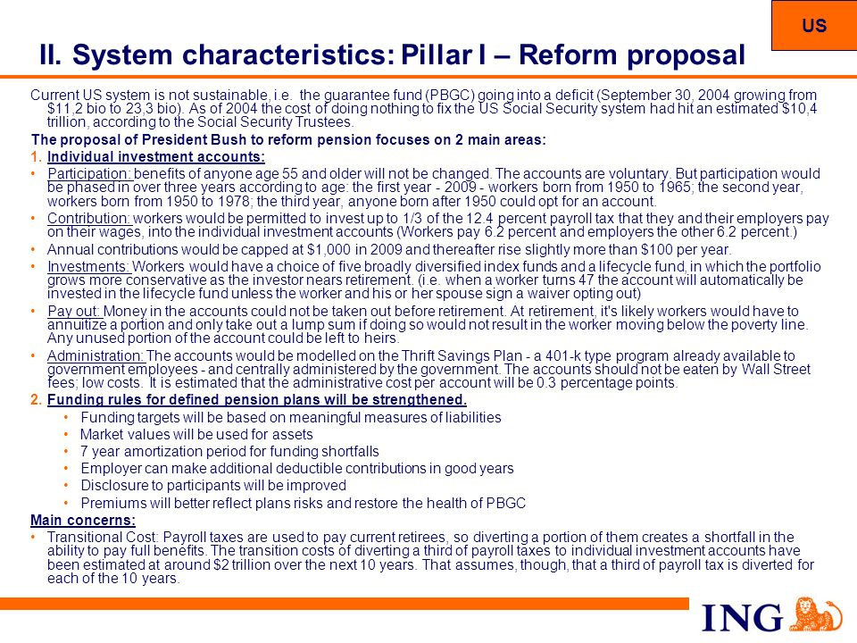 System characteristics: Pillar I – Reform proposal