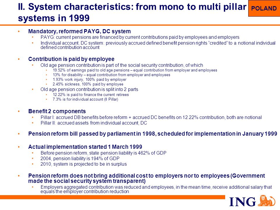 II. System characteristics: from mono to multi pillar systems in 1999