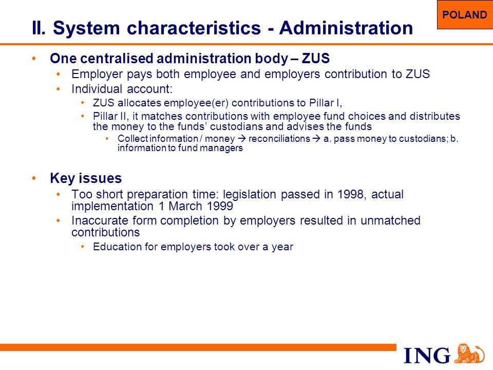 II. System characteristics - Administration