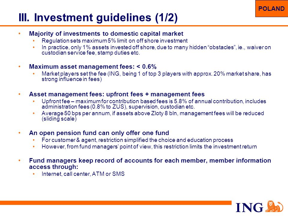 III. Investment guidelines (1/2)