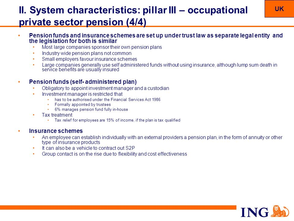 UK II. System characteristics: pillar III – occupational private sector pension (4/4)