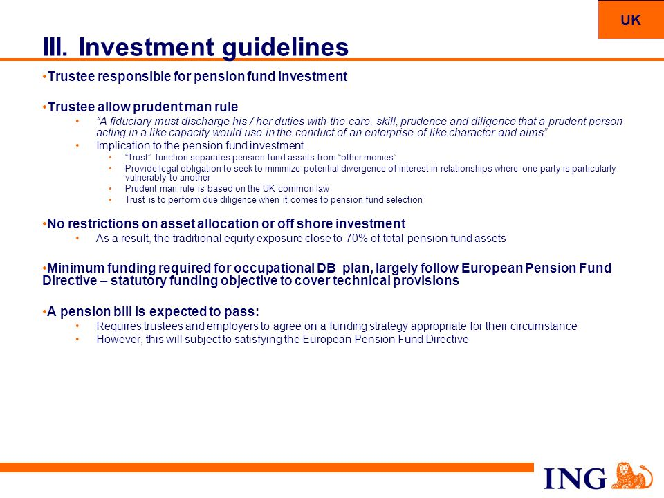 III. Investment guidelines