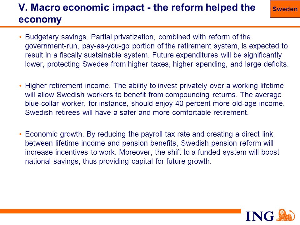 V. Macro economic impact - the reform helped the economy