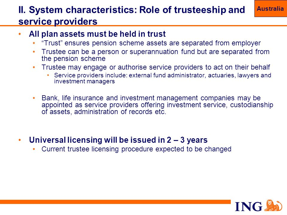 II. System characteristics: Role of trusteeship and service providers