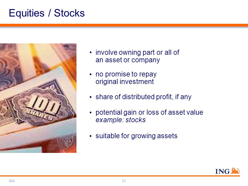 Equities / Stocks involve owning part or all of an asset or company