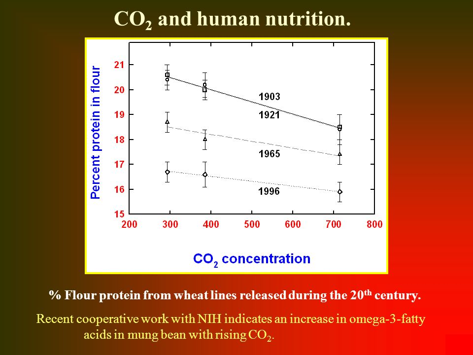 CO2 and human nutrition. % Flour protein from wheat lines released during the 20th century.