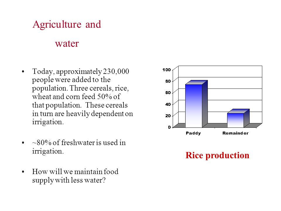 Agriculture and water Rice production