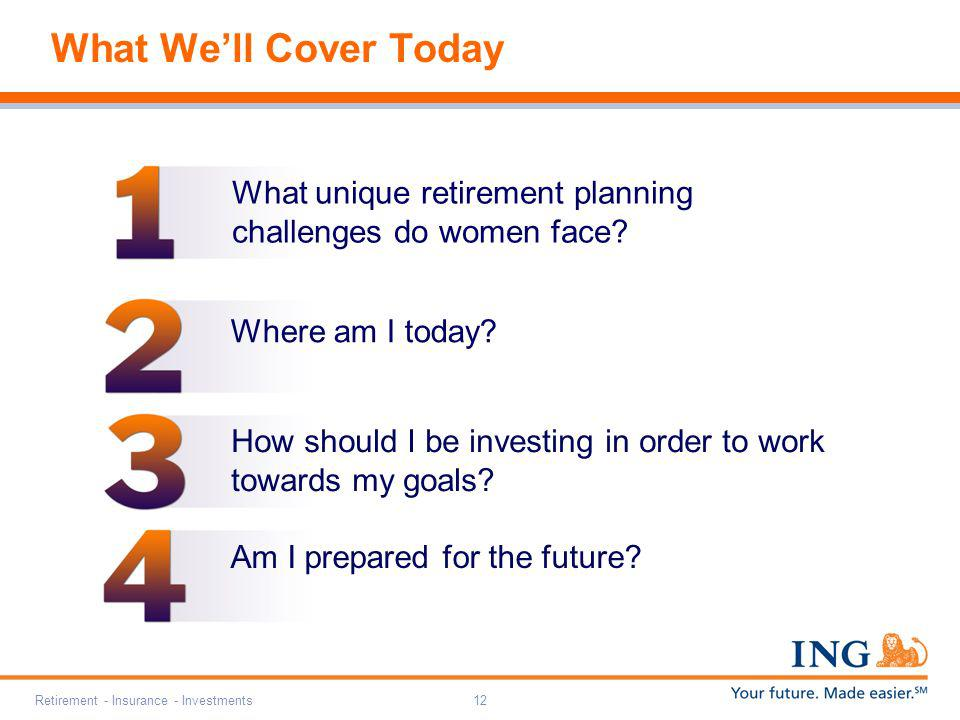 What We'll Cover Today What unique retirement planning challenges do women face Where am I today