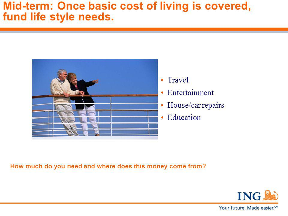 Mid-term: Once basic cost of living is covered, fund life style needs.