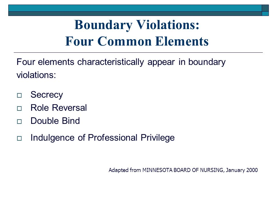 Boundary Violations: Four Common Elements