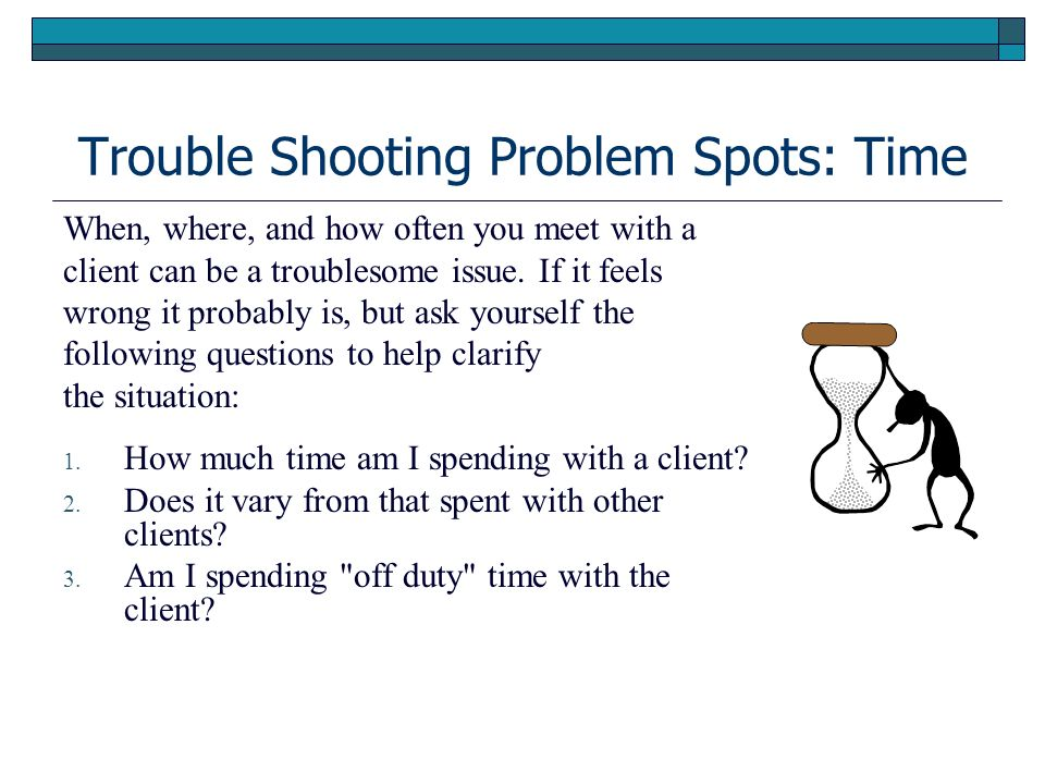 Trouble Shooting Problem Spots: Time