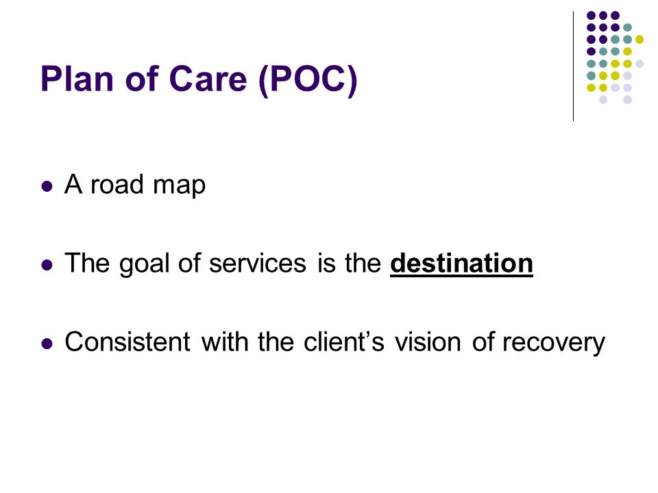 Plan of Care (POC) A road map The goal of services is the destination