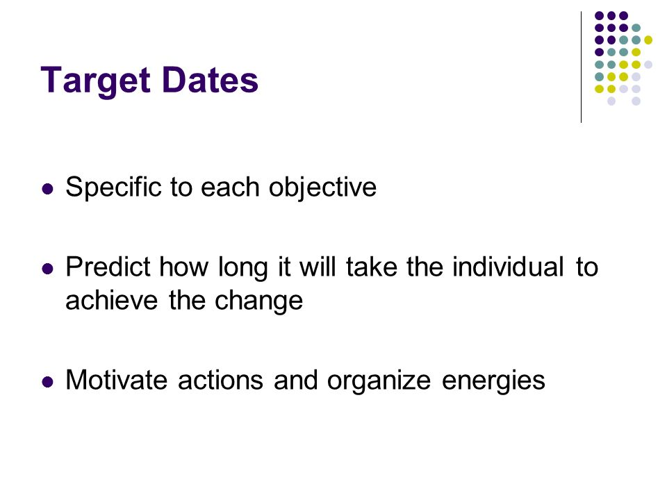 Target Dates Specific to each objective