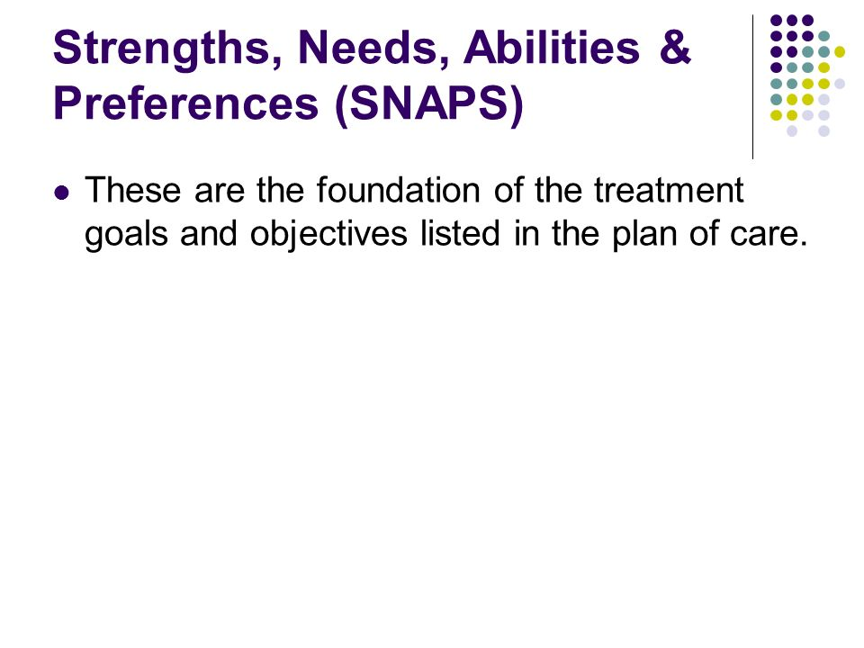 Strengths, Needs, Abilities & Preferences (SNAPS)
