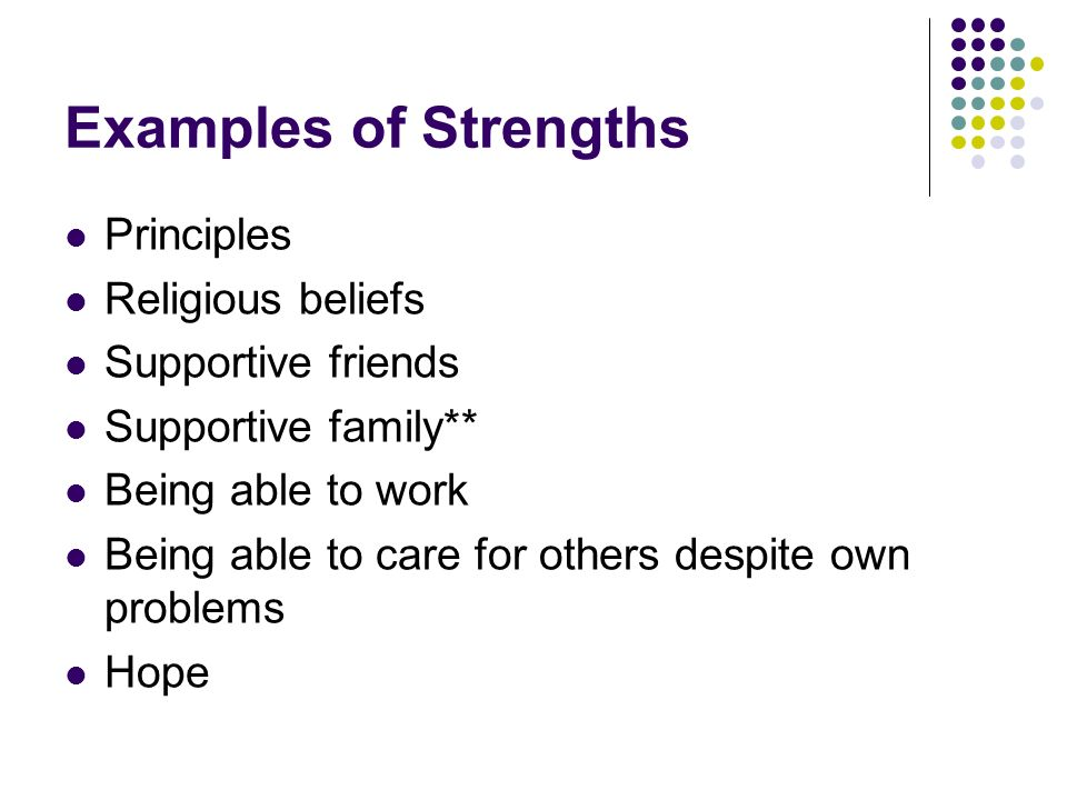 Examples of Strengths Principles Religious beliefs Supportive friends