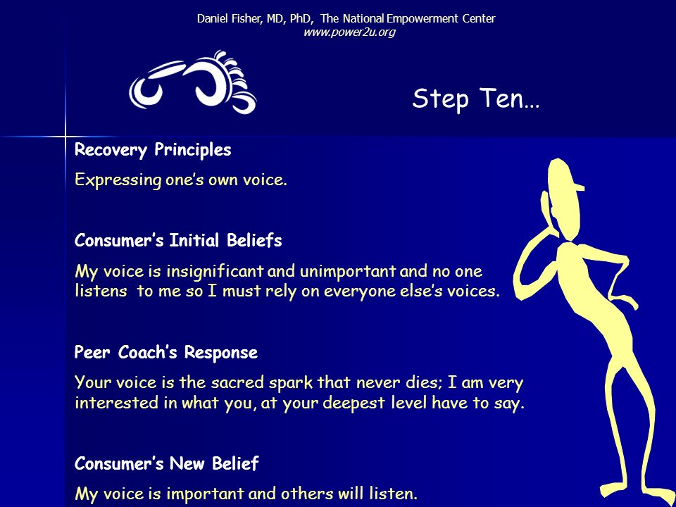 Step Ten… Recovery Principles Expressing one's own voice.