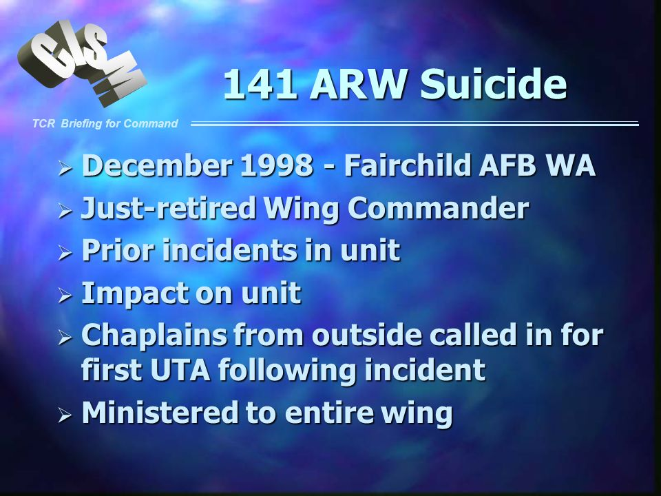 141 ARW Suicide December 1998 - Fairchild AFB WA