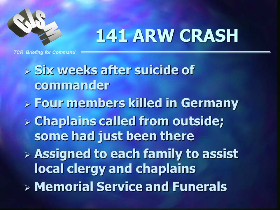 141 ARW CRASH Six weeks after suicide of commander