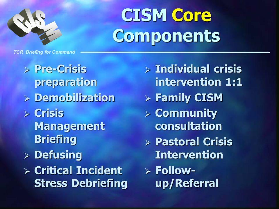 CISM Core Components Pre-Crisis preparation Demobilization