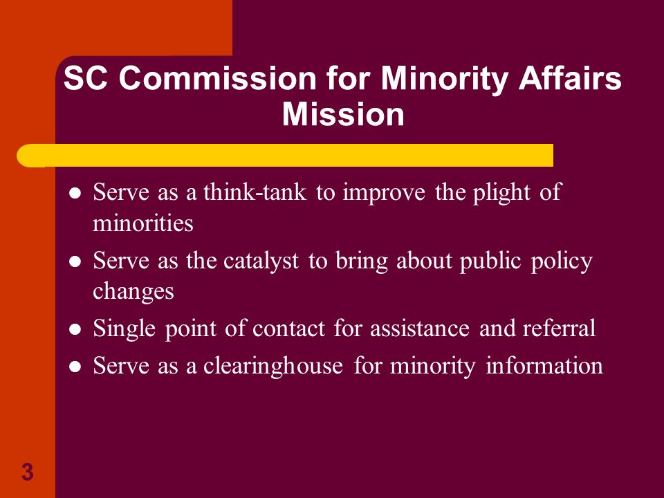 SC Commission for Minority Affairs Mission
