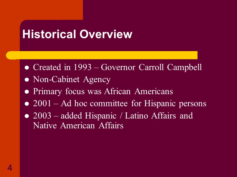 Historical Overview Created in 1993 – Governor Carroll Campbell