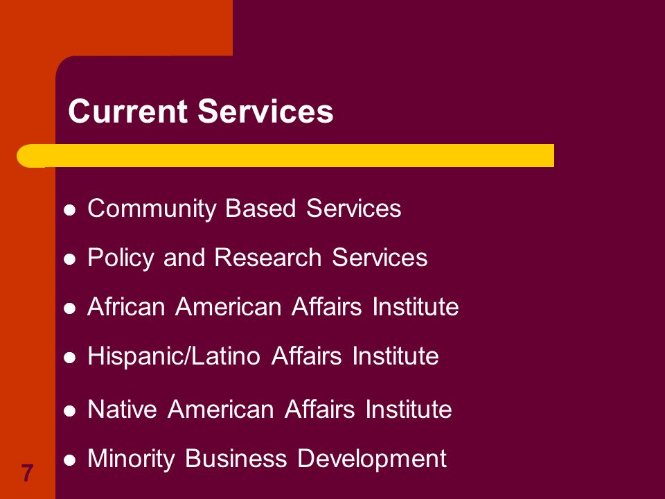 Current Services Community Based Services Policy and Research Services