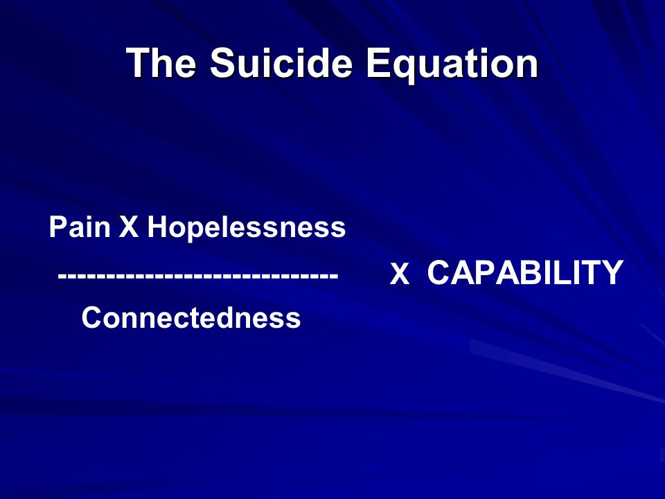 The Suicide Equation Pain X Hopelessness