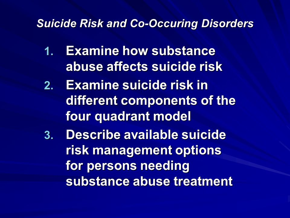 Suicide Risk and Co-Occuring Disorders