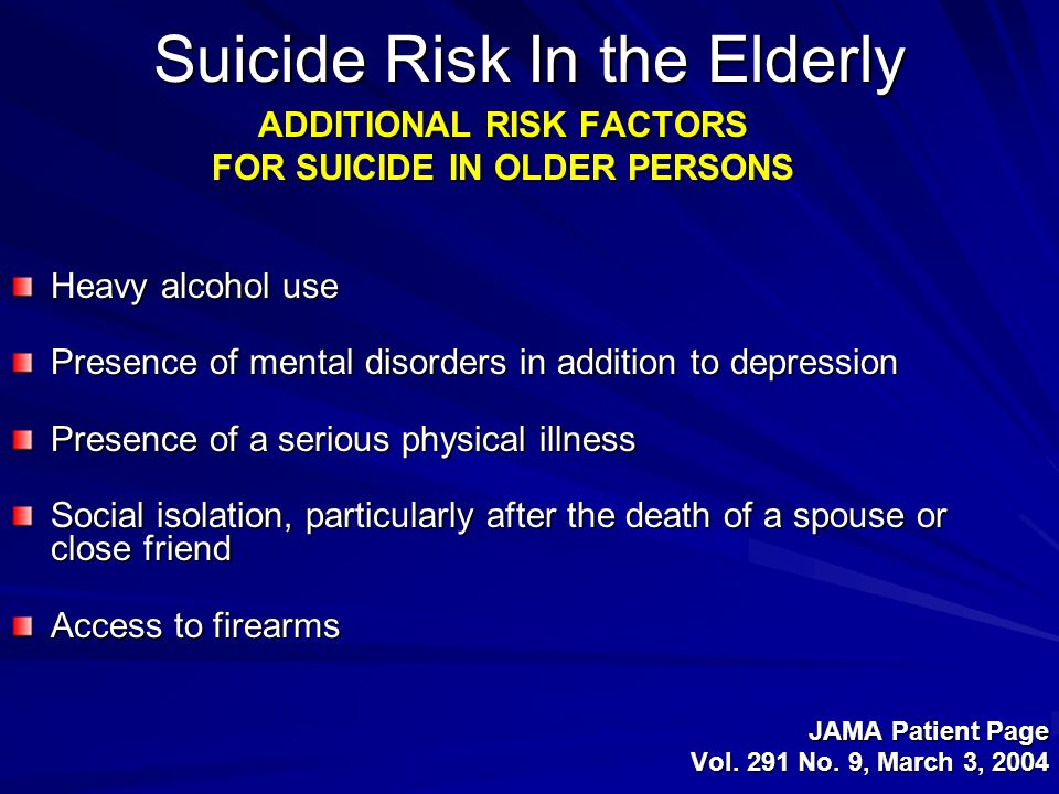 Suicide Risk In the Elderly