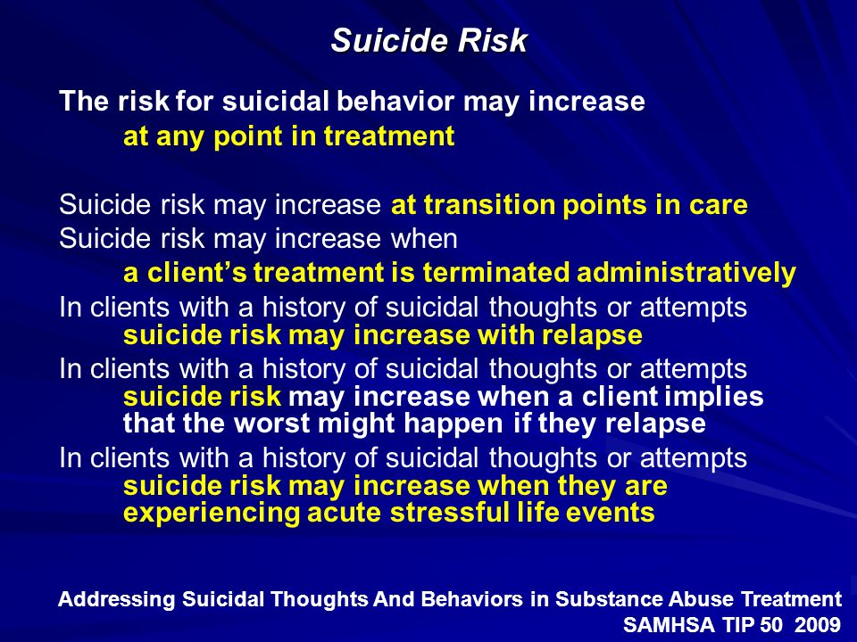 Suicide Risk The risk for suicidal behavior may increase