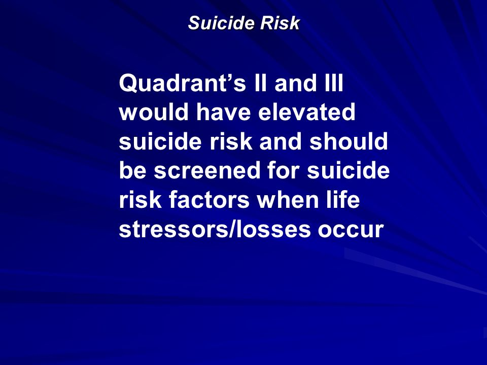 Suicide Risk Quadrant's II and III would have elevated suicide risk and should be screened for suicide risk factors when life stressors/losses occur.